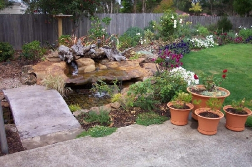 Small pond with walkway